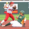 Pittsburg State's Brittanee Knepper throws to first base after a force out on  Missouri Southern's Erika Lutgen during their game on Friday at PSU.<br /> Globe | Laurie Sisk