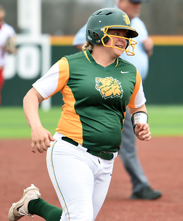 Missouri Southern's Shelby Friend rounds the bases after a two-run homer during the Lions game against Pittsburg State on Friday at PSU.<br /> Globe | Laurie Sisk