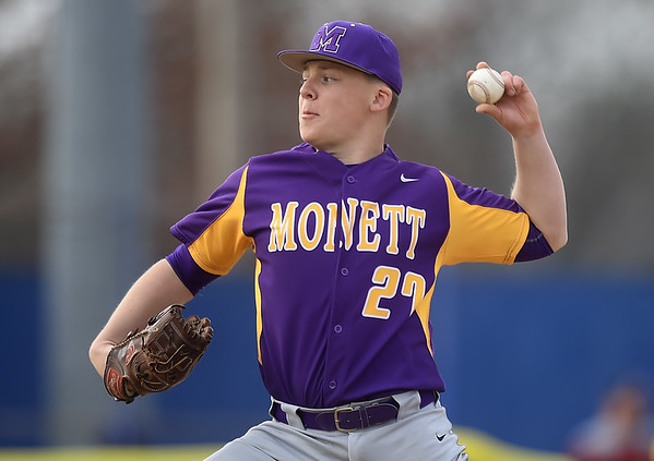Monett's Corey Spain delivers a pitch to the plate during the Cubs game against Seneca in the 45th Annual Bill O'Dell Tournament on Tuesday night at Carthage's Carl Lewton Stadium.<br /> Globe | Laurie Sisk