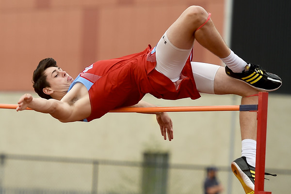 Webb City's Luke Brumit comes up a little short of a personal record despite claiming first place in the high jump during the Joplin Invitational on Wednesday at JHS.<br /> Globe | Laurie Sisk