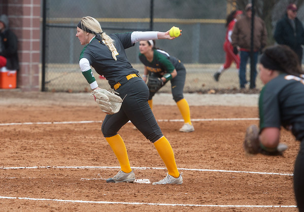 Missouri Southern's Abby Atkin delivers a pitch against Pittsburg State during Friday's game at Missouri Southern.<br /> Globe | Roger Nomer