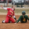 Missouri Southern's Sidnie Hurst slides past Pittsburg State's Brittanee Knepper to steal second during Friday's game at Missouri Southern.<br /> Globe | Roger Nomer