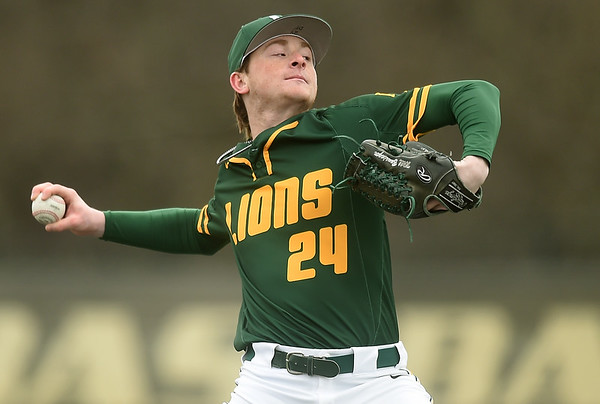 Missouri Southern's Will Bausinger delivers a pitch to the plate during the Lions game against Missouri Western on Saturday at Warren Turner Field.<br /> Globe   Laurie SIsk