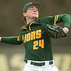 Missouri Southern's Will Bausinger delivers a pitch to the plate during the Lions game against Missouri Western on Saturday at Warren Turner Field.<br /> Globe | Laurie SIsk
