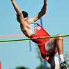 Webb City's Luke Brumit approaches the bar during the high jump at the Webb City Invitational on Friday at WCHS. <br /> Globe | Laurie Sisk