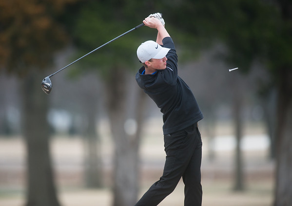 Carthage's Robbie Sager hits a tee shot while playing on Monday at Twin Hill Golf Course.<br /> Globe | Roger Nomer