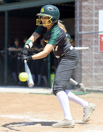 Missouri Southern's Tori Frazier tries to slap her way onto base during the Lions game against Northeastern State on Saturday at Pat Lipira Field.<br /> Globe | Laurie Sisk