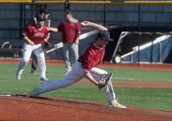 Joplin's Holden Ledford delivers a pitch against Nevada on Thursday at Joplin High School.<br /> Globe | Roger Nomer