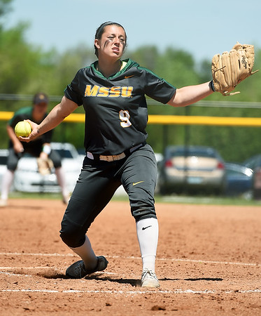 Missouri Southern's Taurean Guzman delivers a pitch to the plate during the Lions game against Northeastern State on Saturday at Pat Lipira Field.<br /> Globe | Laurie Sisk