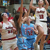 Carl Junction's Shila Winder puts up a shot during Friday's District 12 Championship at Webb City.<br /> Globe | Roger Nomer