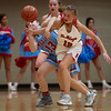 Carl Junction's Shila Winder and Webb City's Darcy Jai Darnell battle for a loose ball during Friday's District 12 Championship at Webb City.<br /> Globe | Roger Nomer