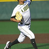 Missouri Southern's Zach Parish delivers a pitch to the plate during the Lions game against Pittsburg State on Friday at Warren Turner Field. Parish broke the school's single season strikeout record on Friday.<br /> Globe | Laurie Sisk