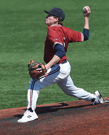 Joplin's Grant Jones delivers a pitch to the plate during the Eagles game against Parkview on Saturday at JHS. <br /> Globe | Laurie Sisk