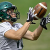 Missouri Southern receiver Carson Day runs through drills on Tuesday at Fred G. Hughes Stadium.<br /> Globe | Laurie Sisk
