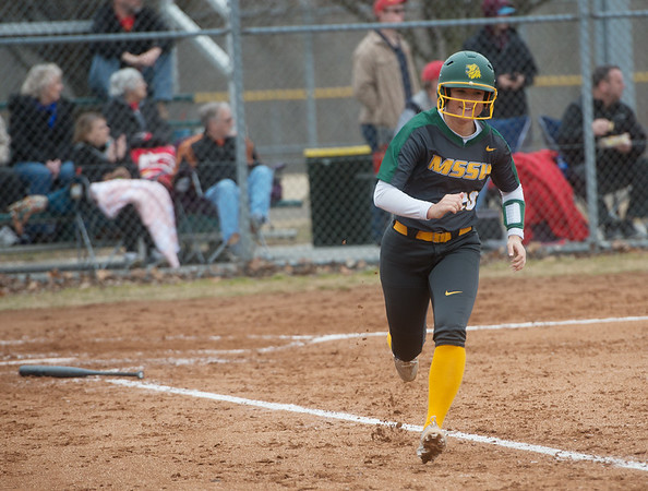 Missouri Southern's Makaila Leonhart heads for first after a hit against Pittsburg State during Friday's game at Missouri Southern.<br /> Globe | Roger Nomer