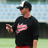 Globe/Roger Nomer<br /> Outlaws Head Coach Rob Vessell addresses his team after practice at Joe Becker Stadium on Wednesday.