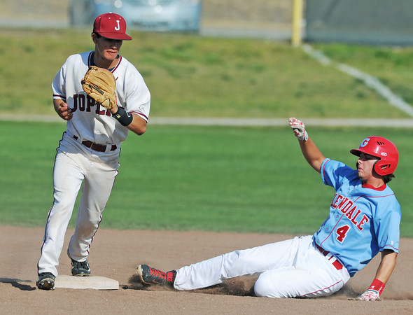 Globe/Roger Nomer<br /> Joplin's Johnny Maturino gets the force out at second of Glendale's Austin Huff during Wednesday's game at Joe Becker.