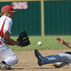 Globe/Roger Nomer<br /> Webb City's Mason Grant Williams gets the ball in time to tag out Willard's Jordan Stevens on steal attempt at second during Monday's game.