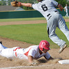Globe/Roger Nomer<br /> Webb City's Cooper Cain Strasser slides safely into third under Willard's Dallas Hinds during Monday's game.