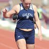 Galena's Jessica Henson wins her preliminary heat in the girls 100m dash on Friday at the Girard Relays.  Henson went on to capture first place in the finals.<br /> Globe | Laurie Sisk