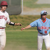 Globe/Roger Nomer<br /> Joplin's Colton Johnson and Glendale's Brad Nutter both plead their case to the umpire after a close play at second base during Wednesday's game at Joe Becker. Johnson was called out on the play.