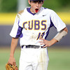 Monett shortstop Hunter Witt shakes off an injury after being hit in the mouth by a sharp grounder during the Cub's  state playoff game against Rogersville on Thursday at Monett.<br /> Globe | Laurie Sisk