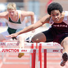 Nevada hurdler Justin Marley races to a first place finish in his preliminary heat of the boys 100m hurdles on Saturday at the Class 3A District 6 Championships ibn Carl Junction.<br /> Globe | Laurie Sisk
