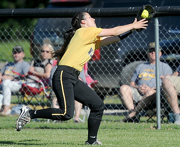 Diamond centerfielder Dayle Chasten tracks down a long fly ball during the Wildcats' Class1, District 11 championship game against Liberal on Wednesday at Diamond. Globe | Laurie Sisk