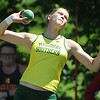 Missouri Southern'sDesirea Buerge competes in the shot put on Friday at MSSU.<br /> Globe | Laurie Sisk