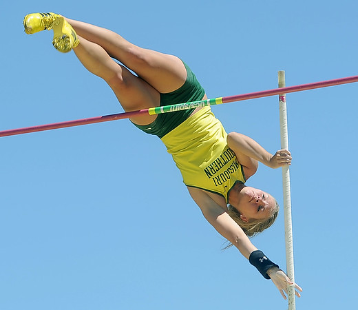 Missouri Southern's Melanie Bower tries to clear a height in the pole vault on Friday at MSSU.<br /> Globe | Laurie Sisk