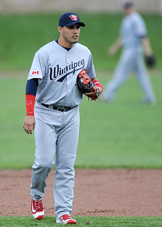 Former Blaster Maikol Gonzalez takes to the field before the start of the Winnipeg Goldeye's game against Joplin on Thursday night at Joe Becker Stadium.<br /> Joplin Globe | Laurie Sisk