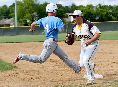 Webb City's Will Larson can't beat the throw to first as Kickapoo's Chandler Jones during their game on Tuesday night in Springfield. Globe | Laurie Sisk