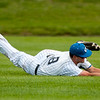 Crowder centerfielder xx xx (8) dives just short of catching a line drive to short center during the Roughriders' game against on Friday at Joe Becker Stadium.<br /> Globe | Laurie Sisk