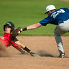 Lockwod's xx (3) steals second base as he slides under the tag of McAuley's xx (28) during their game Tuesday at Joe Becker Stadium.<br /> Globe | Laurie SIsk