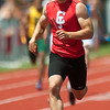 Weston Wendt brings home the win for the Carl Junction boys 4x200 relay on Saturday at CJHS.<br /> Globe | Laurie Sisk