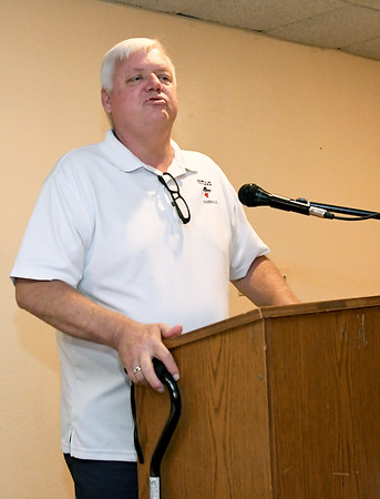 Outlaws President and General Manager Mark Rains thanks host families for their support of the team during a special meet and greet for players and families on Wednesday night at the Continental Banquet Center.<br /> Globe | Laurie Sisk