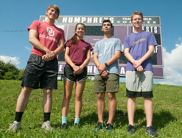 Thomas Jefferson seniors stand poised Friday as they prepare for their Class1 District 3 sectionals, which begin today at School of the Ozarks. From the left: Matthew Madole (100m, 200m and 4x200 Relay,) Markaila Farnham (Triple Jump, 100m Hurdles, 300m Hurdles and 4x100m Relay,) Joshua Numata (300m Hurdles, 4x200m Relay and 4x200m Relay) and Lex Baird (4x200m Relay and 4x400m Relay.) Globe | Laurie Sisk