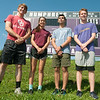 Thomas Jefferson seniors stand poised Friday as they prepare for their Class1 District 3 sectionals, which begin today at School of the Ozarks. From the left: Matthew Madole (100m, 200m and 4x200 Relay,) Markaila Farnham (Triple Jump, 100m Hurdles, 300m Hurdles and 4x100m Relay,) Joshua Numata (300m Hurdles, 4x200m Relay and 4x200m Relay) and Lex Baird (4x200m Relay and 4x400m Relay.)<br /> Globe | Laurie Sisk