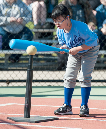 Cory Ferguson sets his sights on a big hit during Miracle League action on Saturday at the Will Norton Field of Dreams.<br /> Globe | Laurie Sisk