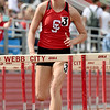 Carl Junction's Alexia Miller races to a win in the girls hurdles during the Central Ozarks Conference meet on Friday at Webb City.<br /> Globe | Laurie Sisk