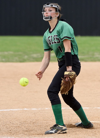 Pierce City's Ragan Blinzler throws from the circle during the Eagles'  Class 1 District 11 championship game against Mount Vernon on Wednesday at Sarcoxie High School.<br /> globe | Laurie Sisk