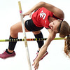 Carl Junction's Logan Hurt tries to best teammate Lily Pyle in the pole vault during the Class 4 District 6 meet on Saturday at Carl Junction.<br /> Globe | Laurie Sisk