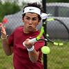 Joplin's Garret Lewis returns a volley during his doubles match with teammate Gustavo Garcia against the Carthage duo of Thomas Neuenswander and Seth Dixon on Tuesday at JHS.<br /> Globe | Laurie Sisk