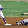 Crowder second baseman Cooper King tags the bag to get the force out on State Fair's Chase Swisher during their game in the NJCAA Region XVI Championships on Thursday at Joe Becker Stadium.<br /> Globe | Laurie SIsk
