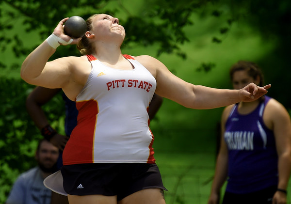 Pittsburg State's Jena Black competes in the shot put during the MSSU Last Chance meet on Friday at Missouri Southern.<br /> Globe | Laurie SIsk