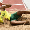Missouri Southern's Adrian Broadus competes in the long jump during the MSSU Last Chance meet on Friday at Missouri Southern.<br /> Globe | Laurie SIsk