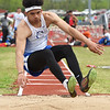 Carthage's Arkel Smith competes in the triple jump during the Central Ozarks Conference meet on Friday at Webb City.<br /> Globe | Laurie Sisk