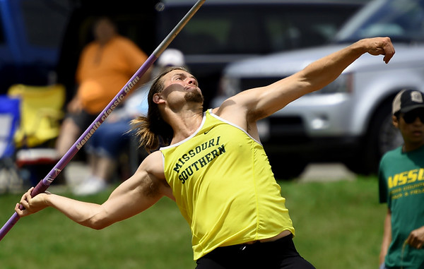 Missouri Southern's Garrett Austin competes in the javelin during the MSSU Last Chance meet on Friday at Missouri Southern.<br /> Globe | Laurie SIsk