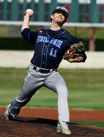 State Fair starter Jake McMahill delivers a pitch to the plate during the Roadrunners game against Crowder in the NJCAA Region XVI Championships on Thursday at Joe Becker Stadium.<br /> Globe | Laurie SIsk