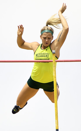 Missouri Southern's Emily Presley clears a height in the pole vault during the MSSU Last Chance meet on Friday at Missouri Southern.<br /> Globe | Laurie SIsk